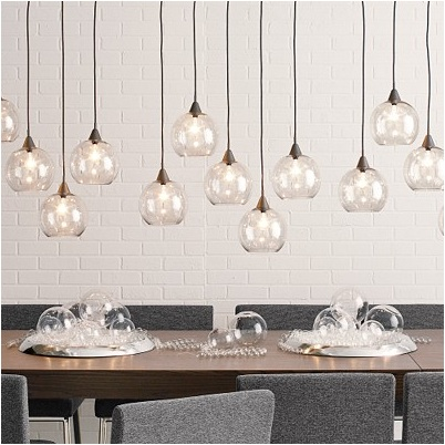 Modern glass globe chandeliers the renovation diaries for Dining room globe lighting