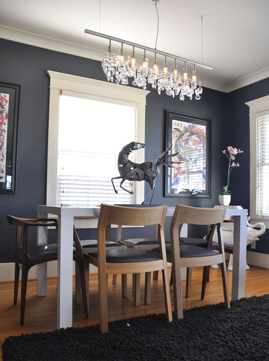 Dark gray walls add dining room drama roomarks 172041 for Grey dining room