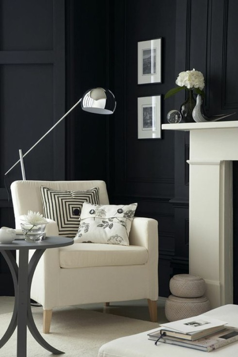Dark Gray walls provide a dramatic backdrop