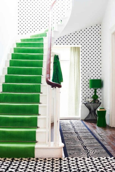 A chic entry way using green & polka dots!
